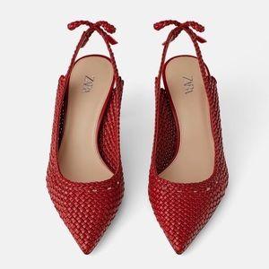Zara Red Woven Slingback Heels Size 8